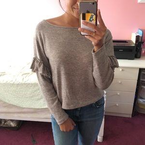Zara sweater ruffled sleeves